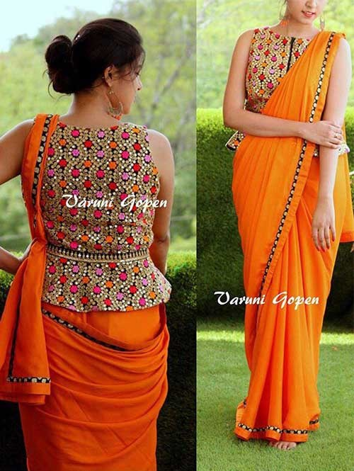 Orange Colored Beautiful Embroidered 60m Georgette Saree