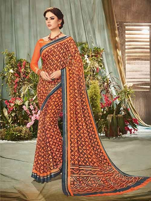 Orange Colored Beautiful Printed Chiffon Saree