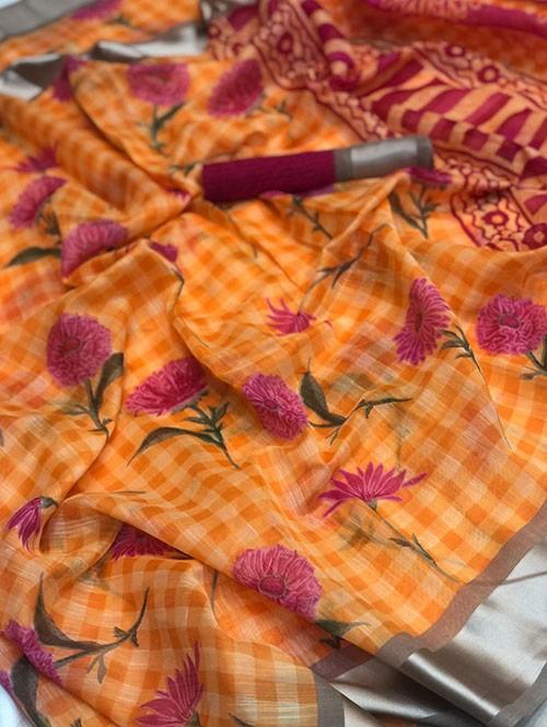 Orange Colored Beautiful Printed Linen Saree with Satin Patta