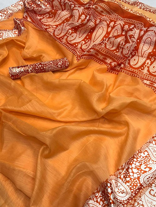 Orange Colored Beautiful Printed Linen Saree with Satin Patta