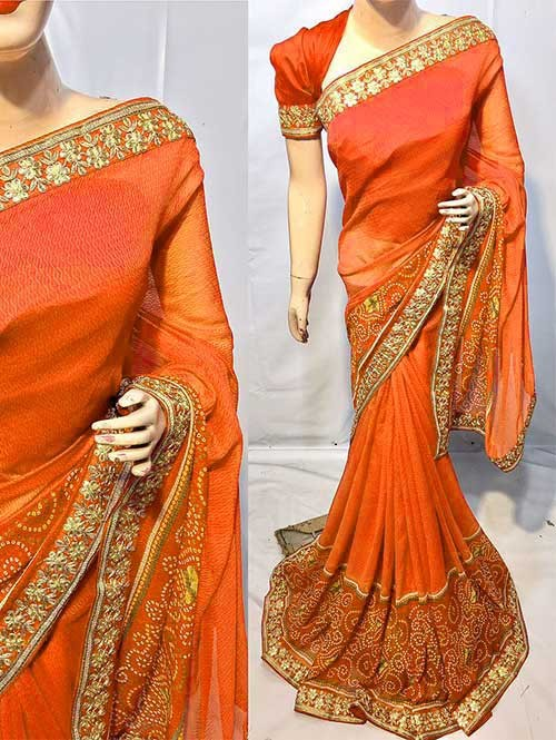 Orange Colored Beautiful Printed Pure chiffon soothe fabric Saree which has Beautiful Embroidered Border