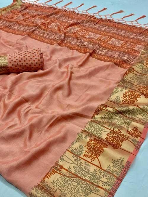 Orange Colored beautiful Printed Silk Saree