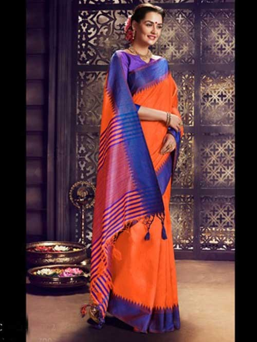 Orange Colored Beautiful Raw Silk Saree