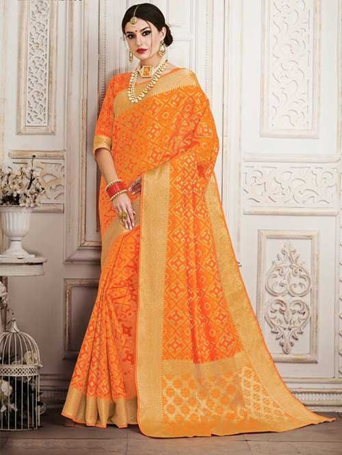Orange Colored Beautiful Silk Weaving Saree