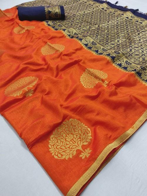 Orange Colored Beautiful Soft Banglory Silk With Rich Pallu Saree - Rajkumari