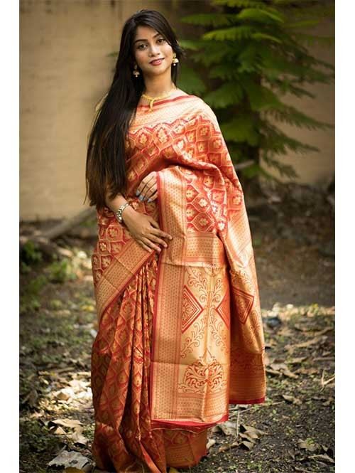 Orange Colored Beautiful Soft Silk Traditional Zari Weaving Saree
