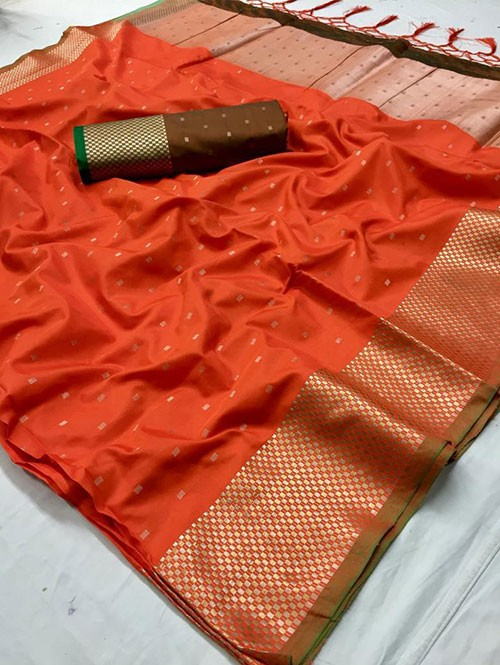 Orange Colored Beautiful Thousand Butta Of Zari Soft Saree - Kanga