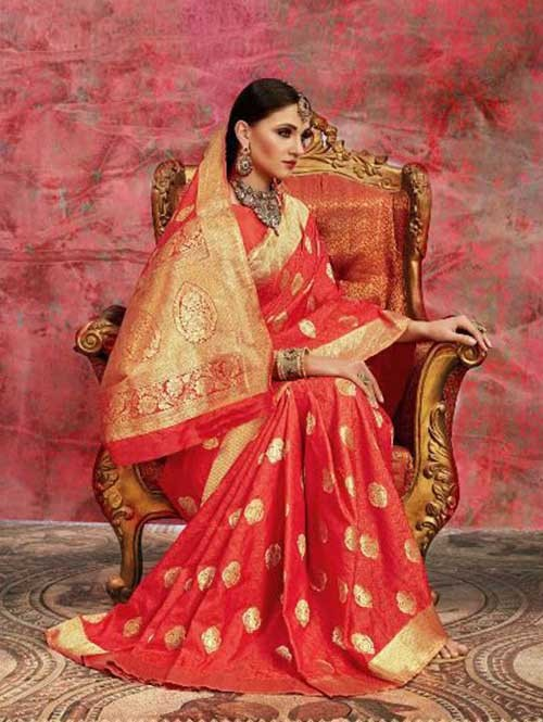 Orange Colored Beautiful Waving Silk Saree