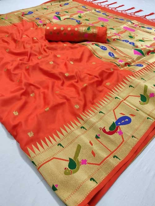 Orange Colored Beautiful Weaving Paithani Silk Saree - Paithani