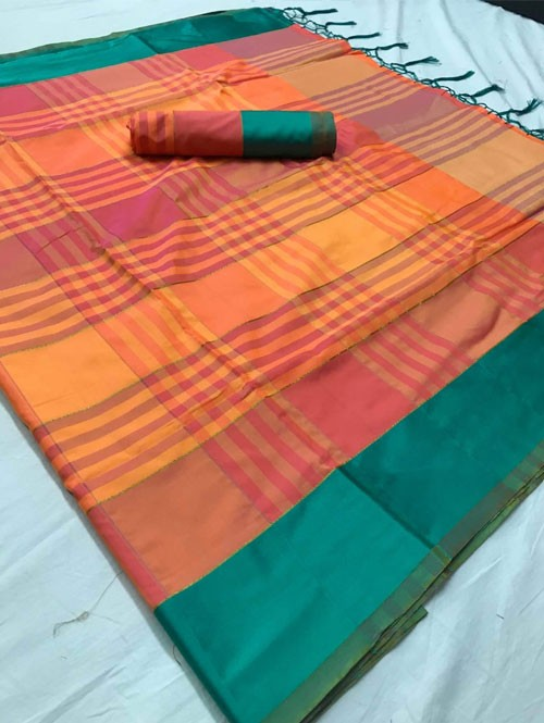 Orange Colored Beautiful Weaving Silk Saree - Tulika jashi