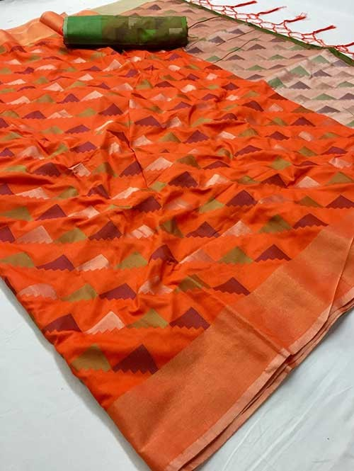 Orange Colored Beautiful Weaving Silk Saree - Yutika
