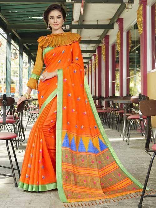 Orange Colored Beautiful Zari weaving Linen Silk Traditional Saree
