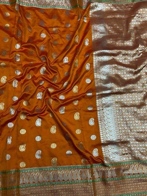 Orange Colored Beautiful Zari Weaving Saree Online
