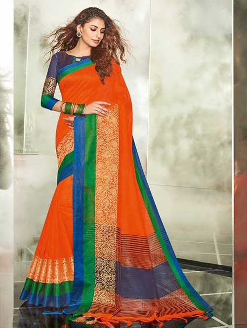 Orange Colored Branded Weaving Silk Saree
