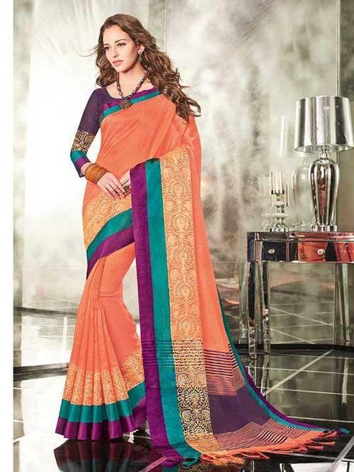 Orange Colored Branded Weaving Silk Saree