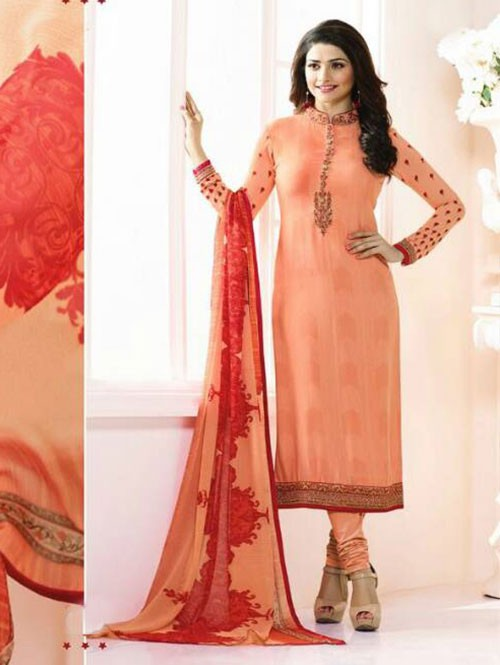 Orange Colored Casual wear Beautiful Embroidered Crepe Suit