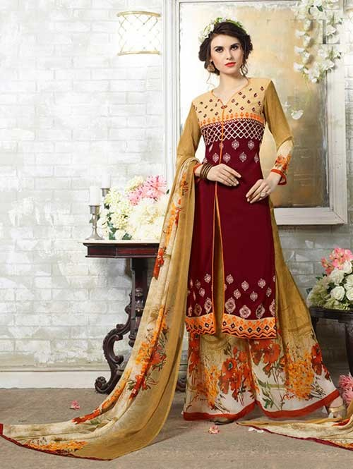 Maroon Colored Designer Suit With Beautiful Plazzo.