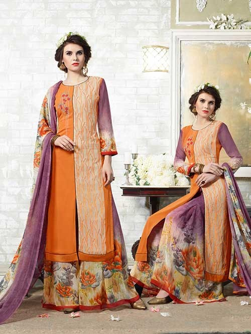 Orange Colored Designer Suit With Beautiful Plazzo.