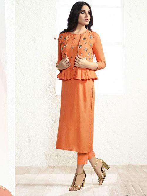 Orange Colored Embroidered Rayon Kurti With Koti