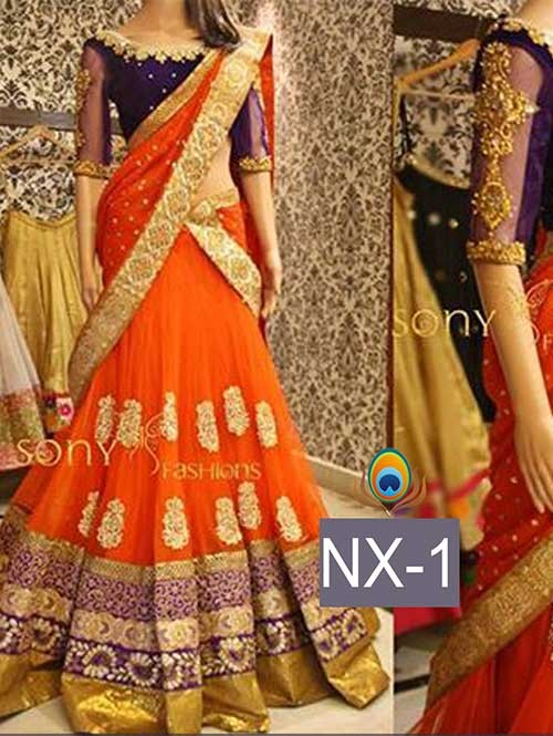 Orange Colored Gorgeous Net Lehenga With Beautiful Velvet Choli