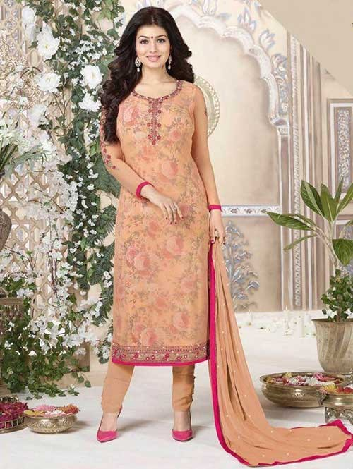 Orange Colored Heavy Embroidered Georgette Salwar Suit