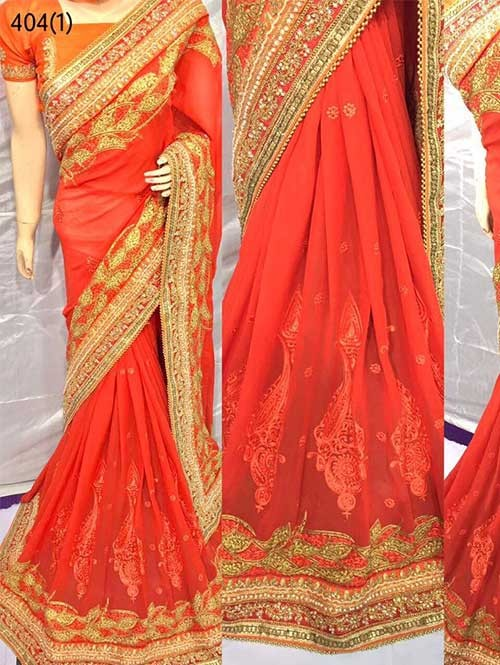 Orange Colored Heavy Embroidered Pure Georgette Saree