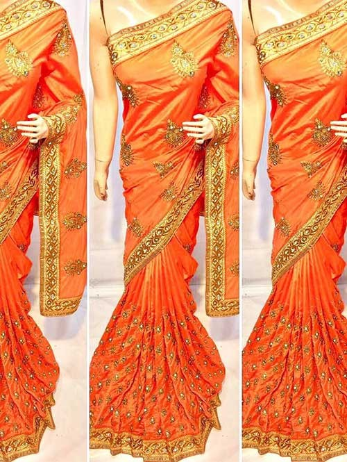 Orange Colored Heavy Embroidered Pure silk Saree