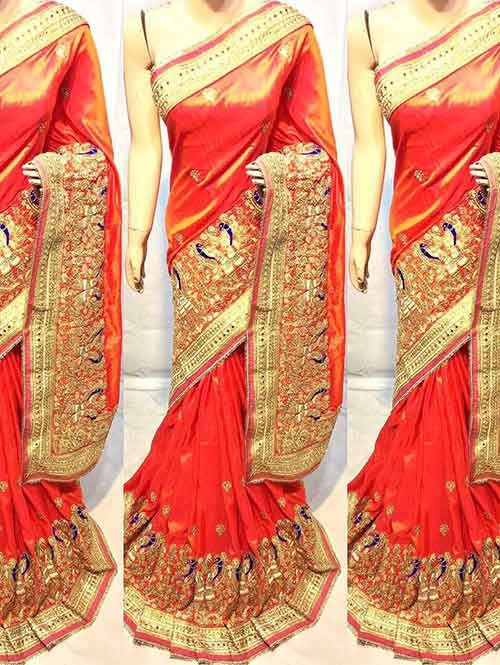 Orange Colored Heavy Embroidered Soft Silk Saree