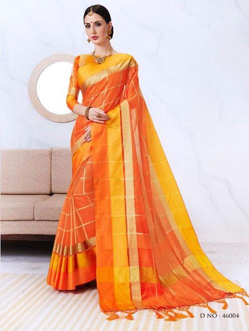 Orange Colored Kota Silk Saree