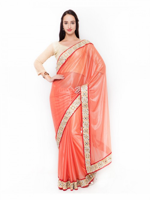Orange Colored Lycra Border Worked Saree with Blouse