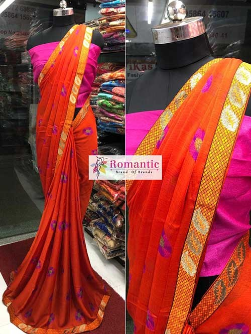 Orange Colored Printed Moss Chiffon Saree With Beautiful Border