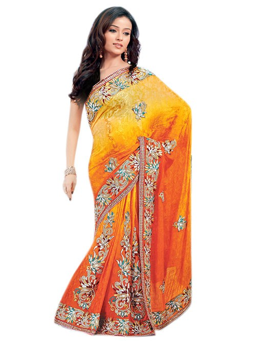 Orange Colored Pure Jacquard Silk Designer Saree with beautiful Embroidery