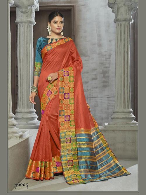 Orange Colored Zari Chex Cotton Silk Fancy Saree