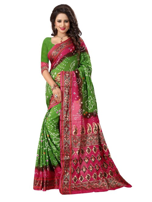 Green Color Printed bandhni Bhagalpuri saree