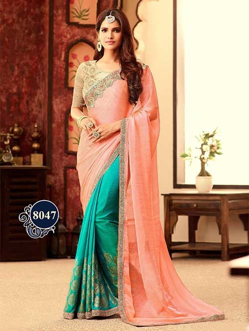 Peach And Sea Green Embroidered Work Soft Silk and Paper Silk Half N Half Designer Saree