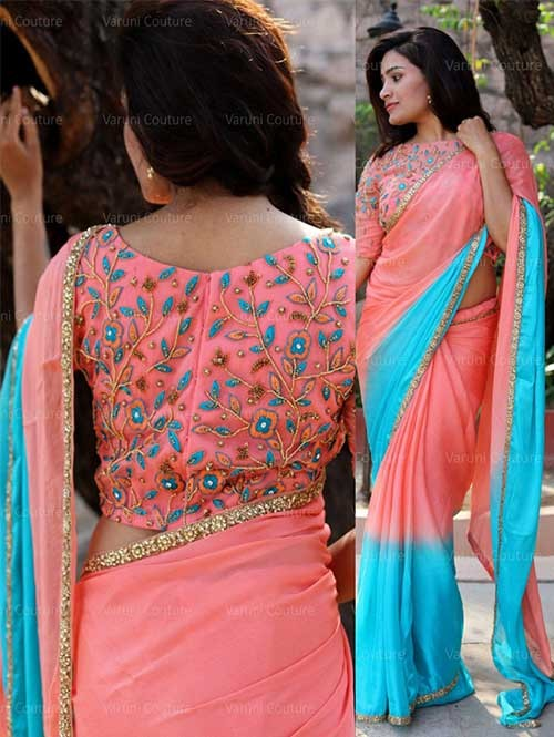f7fde8fdf6f013 Peach And Sky blue Color Georgette Saree With Work Blouse | Shop Now
