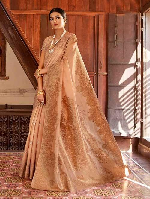 Peach Color Beautiful Weaving Silk Saree - Kanshula