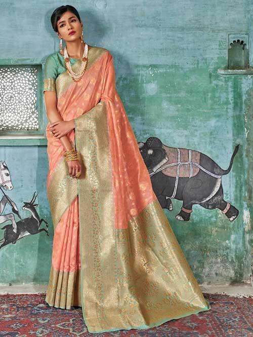 Peach Color Beautiful Weaving Silk Saree - Karveena