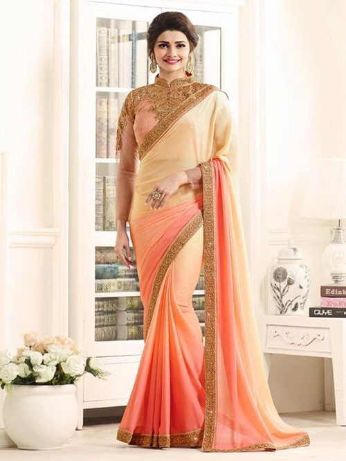 Peach Color Georgeous Georgette Saree with Blouse