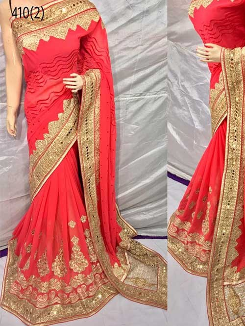 Peach Color Heavy Embroidered gorgeous Pure Bemberg saree for Traditional Wear