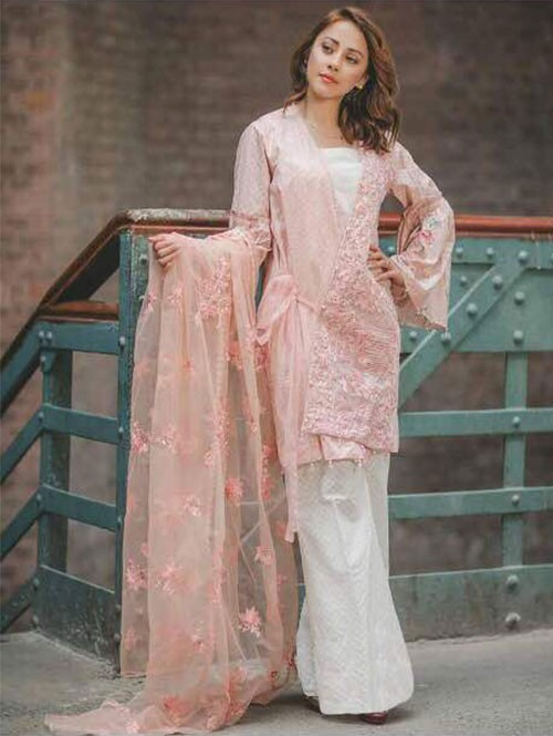 Peach Color Heavy Embroidered Cotton Pakistani Suit