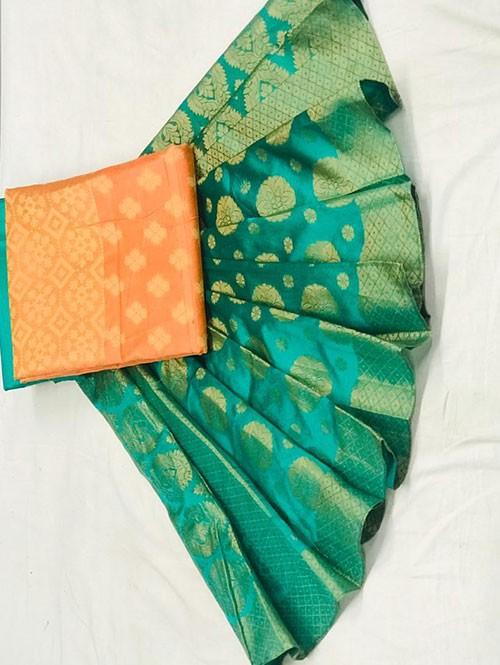 Peach Colored Beautiful Banarasi Dress Material.