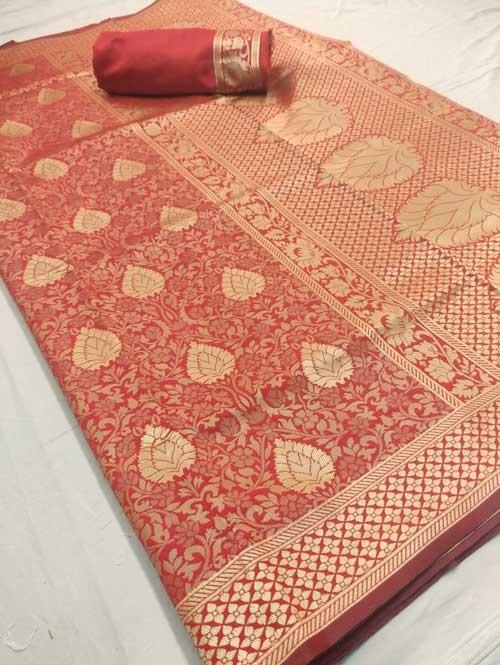 Peach Colored Beautiful Branded Weaving Silk Saree - Raag