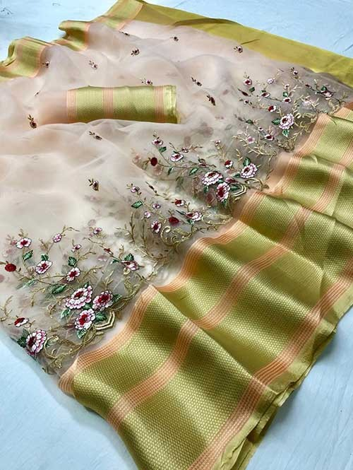Peach Colored Beautiful Embroidered Branded Organza Silk Sarees