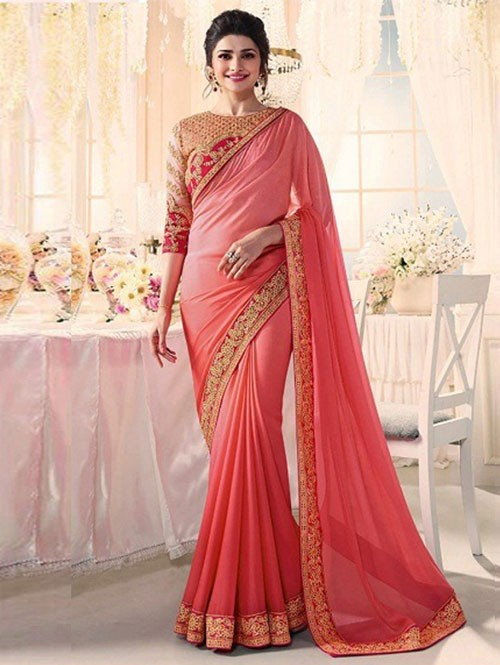Peach Colored Beautiful Embroidered Chiffon Saree