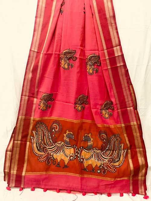 Peach Colored Beautiful Embroidered Cotton Saree