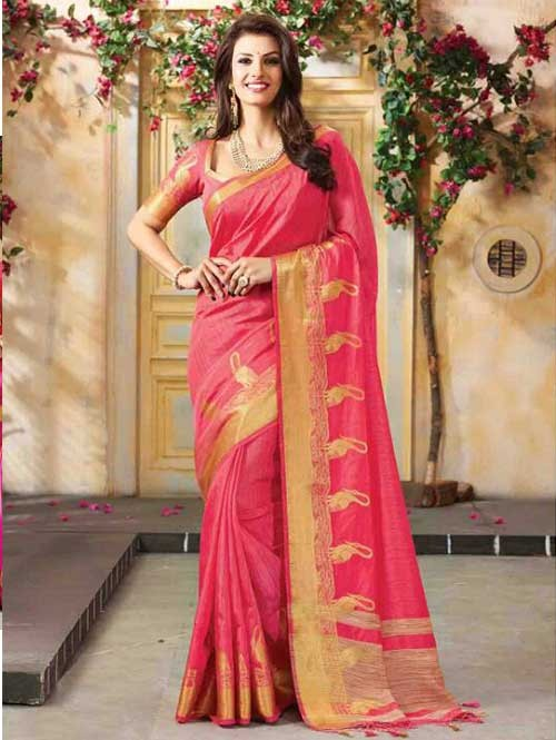 Peach Colored Beautiful Embroidered Cotton Saree With Matching Blouse