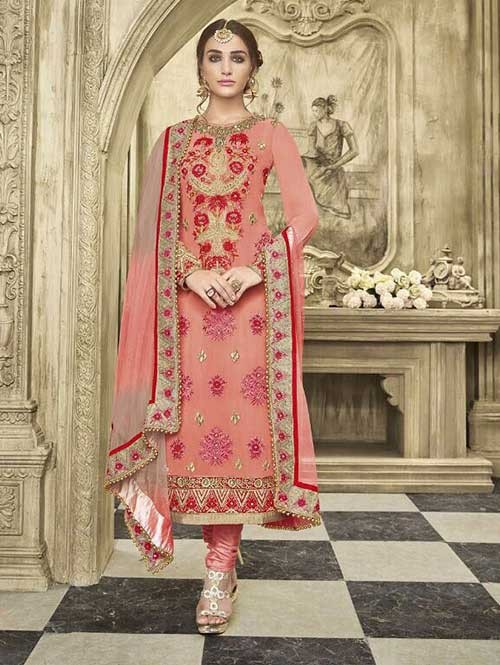 Peach Colored Beautiful Embroidered Faux Georgette Salwar Suit With four side embroidery less with latkan Dupatta