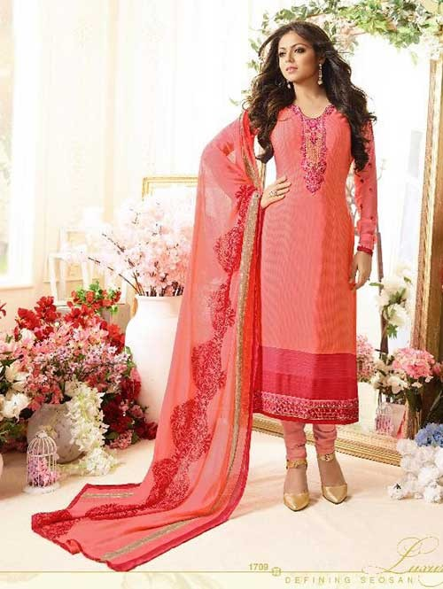 Peach Colored Beautiful Embroidered French Creap Salwar Suit With Embroidery Work