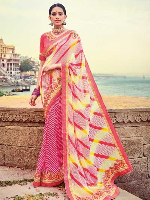 Peach Colored Beautiful Embroidered Georgette Leheriyaa Pattern Printed Saree